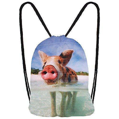 Hanessa Jutebeutel mit Schwein im Wasser Tier Aufdruck Sportbeutel Tüte Rucksack Beutel Tasche Gym Bag Gymsack Hipster Fashion Sport-Tasche Einkaufs-Tasche