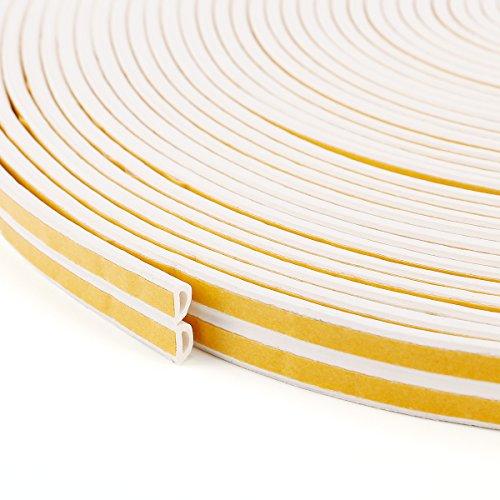 Fensterdichtung Selbstklebend  50m   Dichtband   D – PROFIL   weiß  Türdichtung Gummidichtung Fensterdichtband Tür Fenster Dichtung Dichtungsband