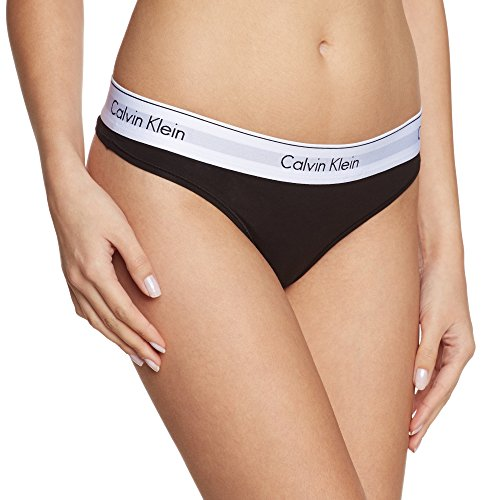 Calvin Klein - Bikini Bottom Thong, Donna, Nero (001), Medium