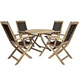 Charles Bentley Acacia Hardwood Round Table H74 x Diameter 115cm And 4 Folding Textilene Highback Armchairs Outdoor Garden & Patio Dining Set