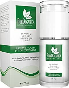 PurOrganica Eye Cream for Dark Circles, Puffiness, Eye Bags, Wrinkles and Crow's Feet – Double Sized 30ML - Organic Anti Ageing Cream with Vitamin C, Hyaluronic Acid, Jojoba Oil and Vitamin E - Best Natural Treatment for Women and Men - 100% Satisfaction or Your Money Back Guarantee