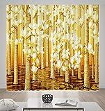 HONGYZCL Goldener Digitaler Druckvorhang Der Blume 3D Passend Für Hauptschlafzimmerwohnzimmer,220Cm(W)×241Cm(H)