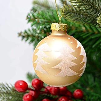 Shatchi 15641-BAUBLES-GOLD-6 bolas de Navidad de cristal con diseño de árbol de Navidad, 6 unidades, color dorado