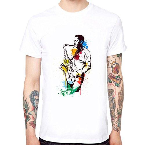 Sax-spieler (Yingyan Sax-Spieler Männer Weiche Baumwolle Lustige Coole T-Shirts Kurzarm Tops T Größe XL)
