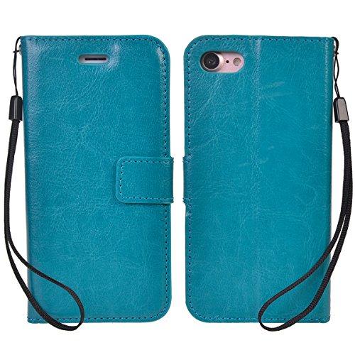 iPhone 7 (4.7 inches) Coque,COOLKE Flip Pliable Cover Case Portefeuille Wallet Etui Cuir Cas Shell avec Pratique Fonction Support Fermeture Magnétique Card Holder pour Apple iPhone 7 (4.7 inches) - Bl Bleu