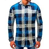 MRULIC Herren Oktoberfest Shirt Kariert Populär Sale Autumn Langarmshirts(A-Blau,EU-50/CN-2XL)
