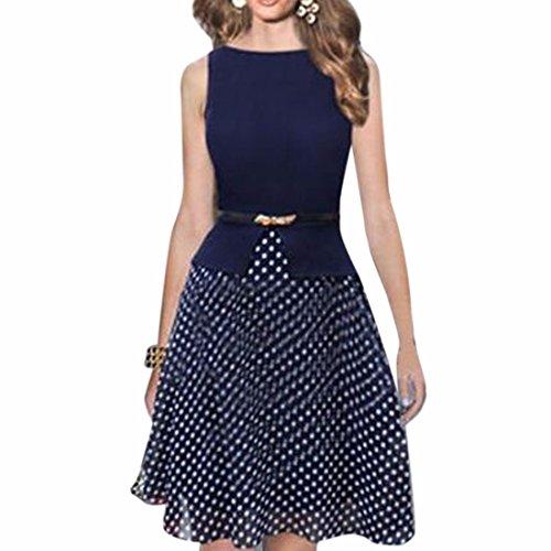 QIYUN.Z Frauen Navy Blue Dot Ärmel Polka Gedruckt, Um Eine Online-Tunika-Kleid Bauchgurt Dunkelblau