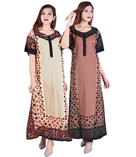 Multi Color Long cotton Nighty (Pack of 2) Combo Womens Printed Nighty Nightwear Cotton Maxi Dress Sleepwear Nightgown - SON630,639