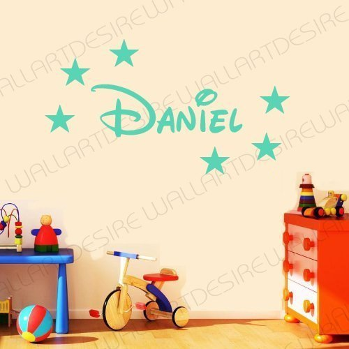 DISNEY STYLE PERSONALISED NAME & STARS BEDROOM VINYL WALL ART DECAL STICKER 14 COLOURS AVAILABLE ***PLEASE MESSAGE US WITH NAME *** (TURQUISE, 20 CM X 60 CM)