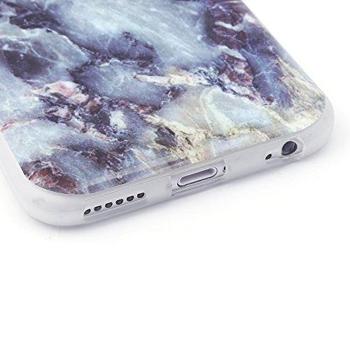 iProtect TPU Schutzhülle Apple iPhone 6 / 6s Softcase Hülle Marmor Edition in weiß dunkelrot marmoriert Marmoriert grau violett