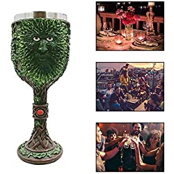 KOBWA Taza de CafÉ 3D Tree Man Goblet, Celtic Green Man Wine Goblet, Tree Man Goblet Wine Cáliz Resina Cuerpo Acero Inoxidable