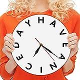 hysxm 1 Stück Haben Sie Einen Schönen Tag Stimmung Zeit Uhr Englisch Brief 3D Wanduhr Moderne Kunst Dekorative Uhr Wanduhren-12inch