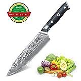 SHAN ZU Damastmesser Kochmesser 67 Schichten Damaststahl Küchenmesser mit G10 Griff 200mm
