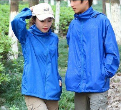 ZEARO Damen Herren Regenmantel Wetterschutzjacke Wasserdicht Winddicht Raincoat mit Kapuze Outdoor Sport Jacke Himmel Blau
