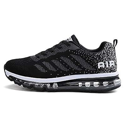 Uomo Donna Air Scarpe da Ginnastica Corsa Sportive Fitness Running Sneakers Basse Interior Casual all'Aperto Black White 34