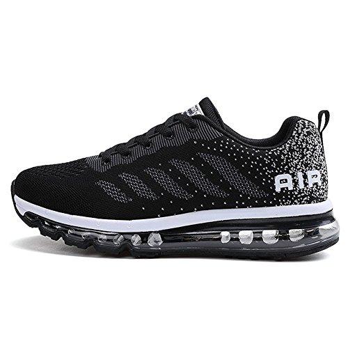 Uomo Donna Air Scarpe da Ginnastica Corsa Sportive Fitness Running Sneakers Basse Interior Casual all'Aperto Black White 42
