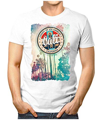 PRILANO Herren Fun T-Shirt - CALI-LOS-ANGELES - Small bis 5XL - NEU Weiß