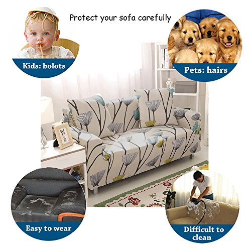 Sofa Slipcover Stretch Fabric Flower Bird Pattern Elastic Chair Loveseat Couch Settee Sofa Covers 1-Piece Pet Dog Protector (2 Seater, Dandelion)