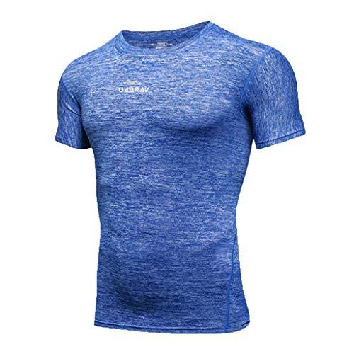 Athletic Fit-t-shirt (Herren Kompressionsshirt Dry-Fit Feuchtigkeitstransport Active Athletic Performance T-Shirt mit Rundhalsausschnitt Sportshirt Blau,XL)