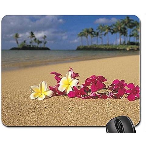Tropical Plumeria e ghirlanda di fiori delle Hawaii orchidee sulla spiaggia di Polinesia francese Mouse Pad, tappetino per Mouse, spiagge Mouse Pad)
