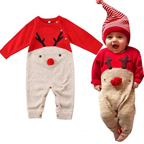 Neugeborenes Dickes Weihnachten Overall Gestrickten Pullover für Kleinkind Baby Junge Mädchen Hirsch Warme Winter Outfits Kleidung Strampler (A, 0-6M)