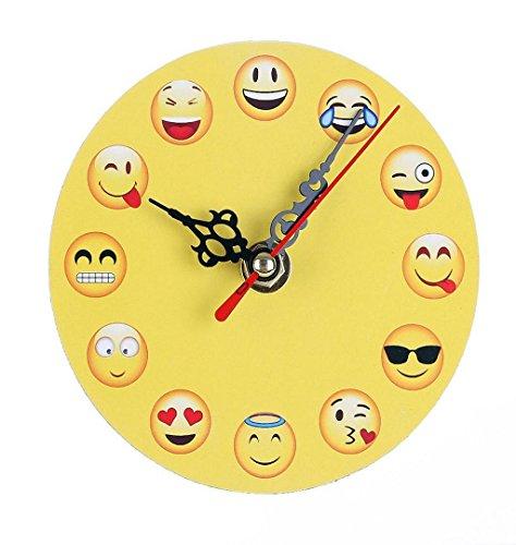 ZEZKT-Home Emoticon Wanduhr Uhr Dekorative, Dekoration fürs Wohnzimmer Kinderzimmer, Moderne Wanduhr Universal Stille Indoor Quarz Runde (D)