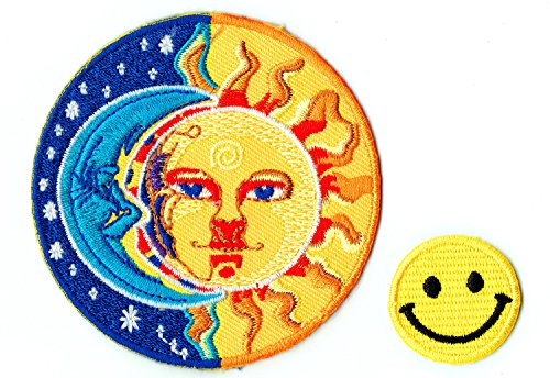 APPLIQUE HALF BLUE MOON AND HALF YELLOW SUN Applique embroidered iron on PATCHES for cap, jacket, T-Shirt, jeans, backpack with FREE shipping and FREE gift by PATCH CUBE by Patch Cube