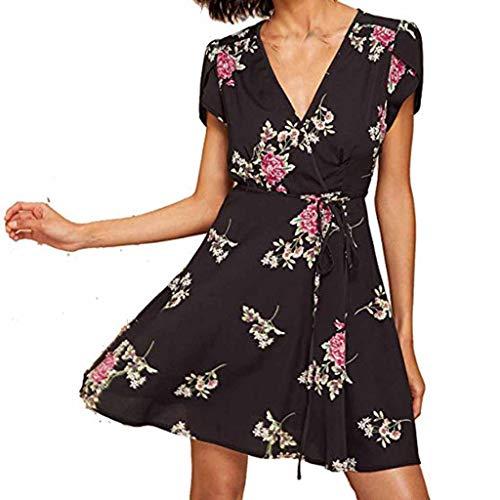 Damen Blumen Mini Kleid Sommer Chiffonkleid Kurzarm Strandkleid Floral Print Casual Kleider Partykleid Cocktailkleider Abendkleider Ballkleider Druckkleid ()