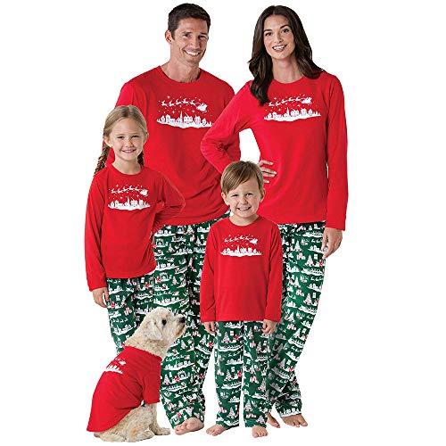 Anglewolf 2PCS Christmas Children Long Sleeve Letters Deer Print Top+Pants Family Clothes Pajamas Nightwear Nightdress Solid Sleepwear Loose Nighties Casual Nightgown Cute Sleep Shirt