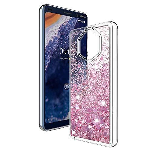 MASCHERI Cover per Nokia 9 PureView, Sottile 3D Bling Glitter Brillantini Lucido Cuore Carino Scintillante Cristallo Silicone Custodia per Nokia 9 PureView- Oro Rosa
