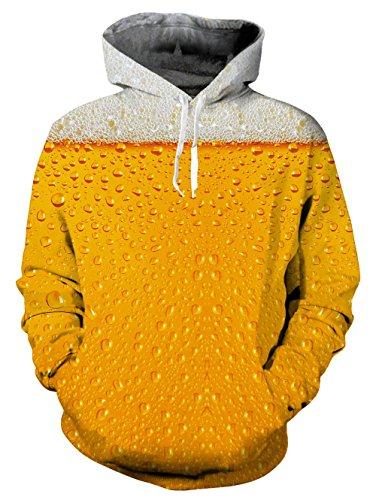 Loveternal Unisex 3d Bier Tropf Hoodies Baumwolle samt aktiv Sport Gym Workout Pullover Hoodie Sweatshirt für Damen Herren XXL (Hoodie Bier)