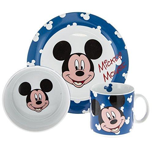 Car bomboniere set pappa mickey mouse in porcellana composto da tazza/ciotola/piatto piano, blu