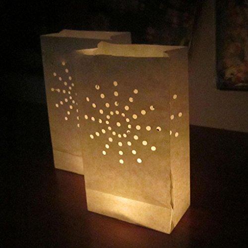 Luckiests Doppel-Herz-Stern Flammenhemmende Papier Kerze Partei Luminary Tasche Feuerbeständige Tasche