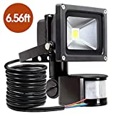 10W Motion Sensor Light,Super bright LED SAMHUE Flood Lights, High Output 750lumen, 60W Halogen Lights Equivalent Replacement, Daylight White, Waterproof , Security Light, PIR Floodlight