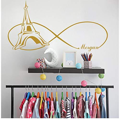 ür Mädchen Wandtattoos Paris Themed Schlafzimmer Wandaufkleber Personalisierte Aufkleber Mädchen Name Wall Decor Tower 57X29Cm ()