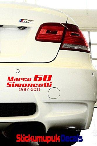 Marco SIMONCELLI 58, di alta qualità, vinile auto-adesivo, da MOTO GP, colore: rosso