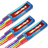 3 Pack - Regenbogen-Fächerpinsel für Gesichts- und Körperbemalung ideal für Schwule & Lesben Stolz Party-Events, Paraden, Festivals - Einfaches Auftragen & Abwaschen