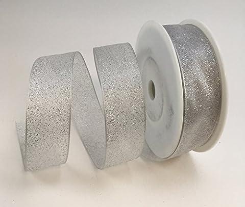 Luxe avec fil argent/blanc ou rose/argent ruban à paillettes 25mm ou 40mm x 20m, blanc/argenté, (Wired Nastro Del Organza)