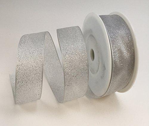 Best. Luxus Kabel Weiß/Silber oder Pink/Silber Glitzer Band 25mm oder 40mm x 20Meter Rolle, ideal für Geschenkverpackungen. Schnelle Service, große Qualität, ausgezeichneter Wert für Geld. Versandkostenfrei innerhalb UK., weiß / silber, 25 mm (Lurex-kabel)