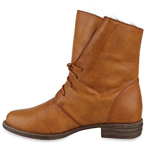 Damen Schuhe Worker Boots Warm gefüttert mit Blockabsatz Hellbraun Hellbraun