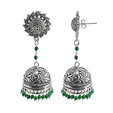Silvestoo India Emerald Green Quartz Surya Studs Jhumka-Indian Jewellery-Traditional Earrings PG-108803
