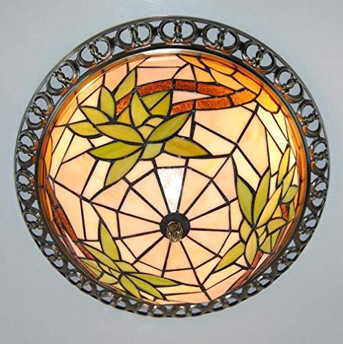 12-Zoll-Tiffany-Stil Deckenleuchte hängen, reiches Bambus-Muster Bio Glasmalerei Lampenschirm Anhänger Beleuchtung für Wohnzimmer Schlafzimmer Dekoration Leuchte -