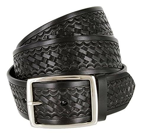 Belts.com Men's Square Buckle Basketweave Work Uniform Genuine Leather Belt 46 Black