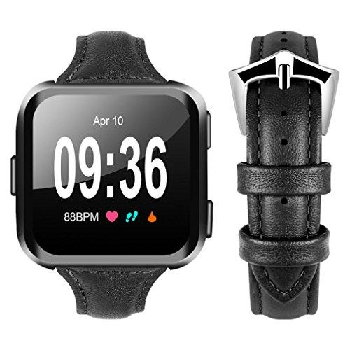 HKFV Fitbit Versa Luxury Leather Bands Ersatz Armband Zubehör Straps Uhrenarmbänder Uhrenarmband Fitbit Versa T-Riemen (Schwarz) -