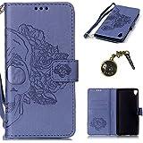 PU Carcasa de silicona teléfono móvil Painted PC Case Cover Carcasa Funda De Piel Caso de Shell cubierta para Sony Xperia XA (5pulgadas (12,7cm) + Polvo Conector morado 1