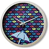 "Cubikfeet Creations 11"" High Quality Monsoon Inspired Design Wooden Frame Decorative Wall Clock With Glass Cover"