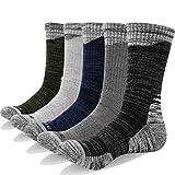 YUEDGE 5 Paires Homme Chaussettes de Randonnee Gris clair/Gris moyen/Gris foncé/Bleu...