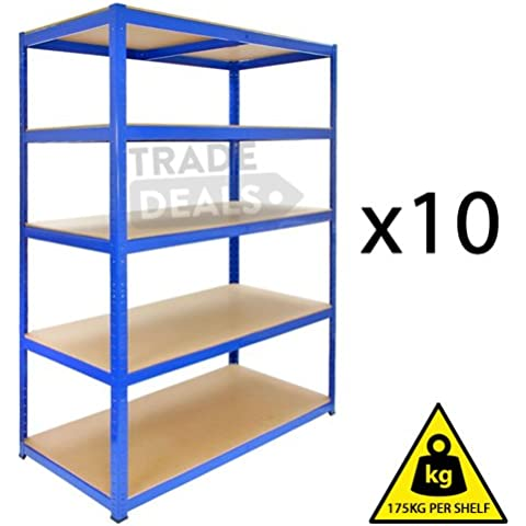 10x Heavy-duty Boltless magazzino/Garage//Casa/Negozio/commerciale racking/scaffale/Bay–175kg per mensola, blu, 120cm (W) X 45cm (D) 180cm (H)
