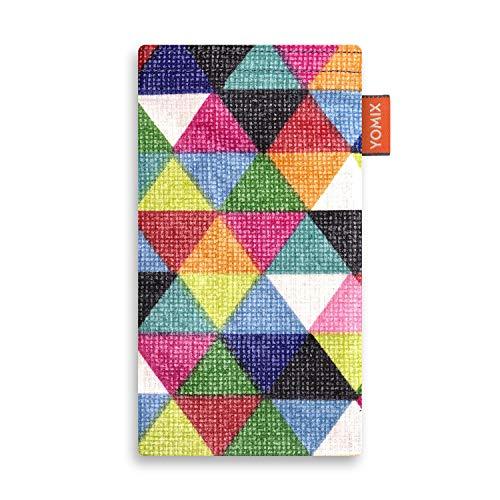 YOMIX Handytasche | Tasche | Hülle Finn für HTC U Ultra aus beschichteter Baumwolle mit genialer Display-Reinigungsfunktion durch Microfaserinnenfutter -