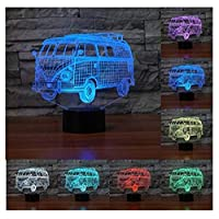 RXHK 3D Camping Bus Night Light Touch Table Desk Lamps 7 Color Changing Illusion Lights with Acrylic Flat ABS Base USB Charger for Christmas Gift